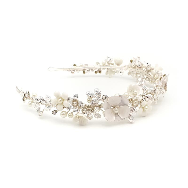 silver floral pearl bridal headband