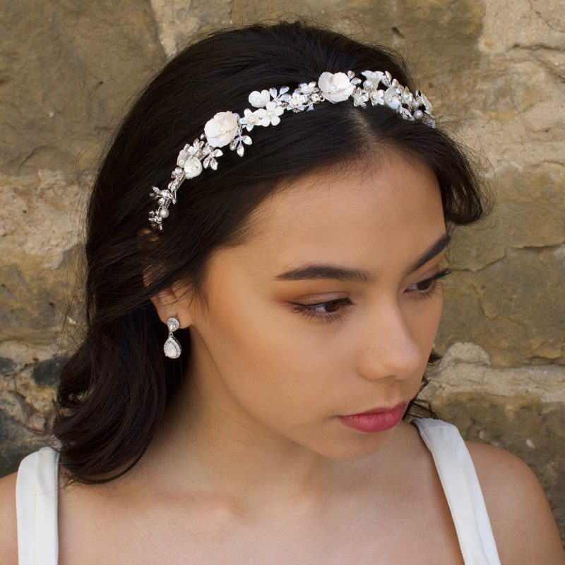 Silver floral crystal and pearl bridal heaband