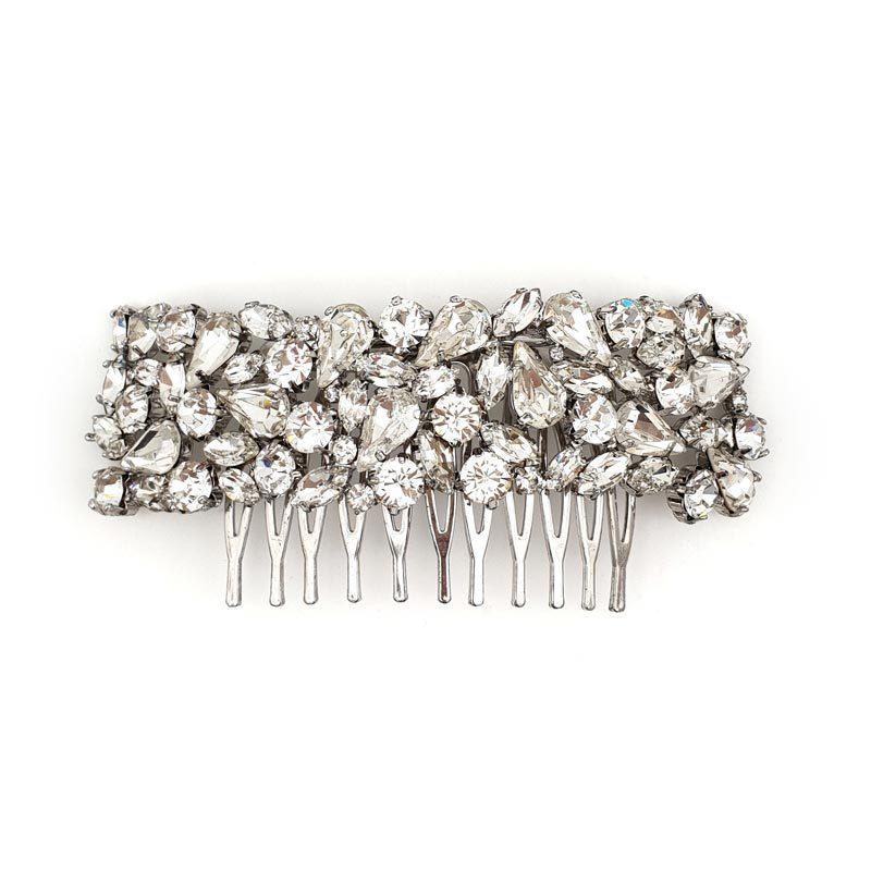 silver swarovski crystal bridal comb