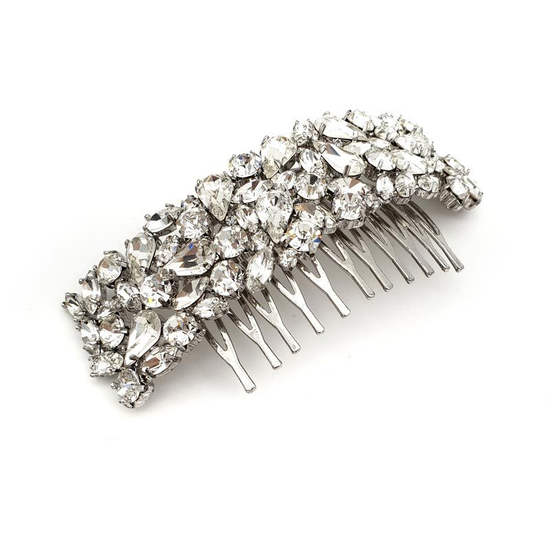 silver swarovski crystal hair comb