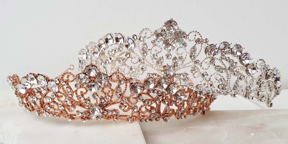 silver and rose gold crystal bridal crown or tiara