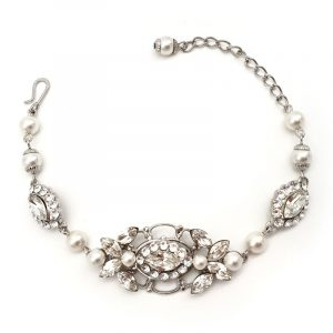 Swarovski crystal and pearl bridal bracelet
