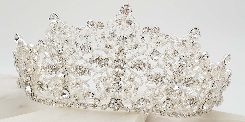 tall silver bridal crown