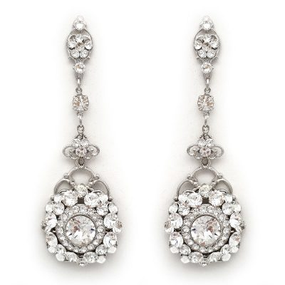 swarovski crystal long drop bridal earrings