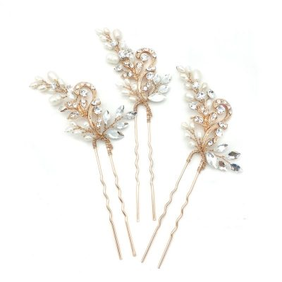 rose gold pearl and crystal hair pin