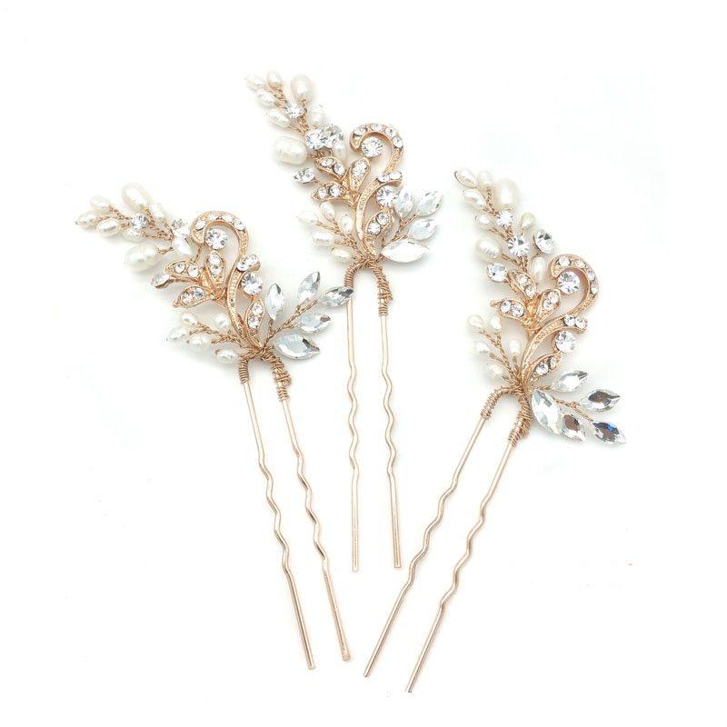 rose gold pearl and crystal hair pin