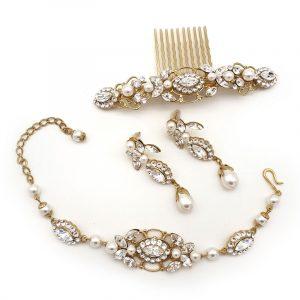 gold swarovski crystal and pearl jewellery set