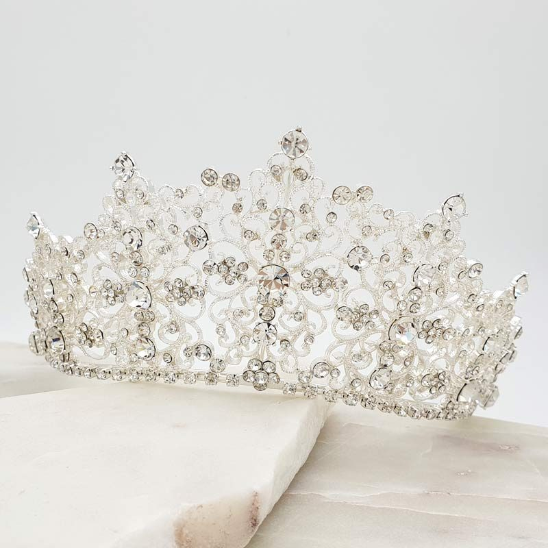 Alexis large silver bridal crown