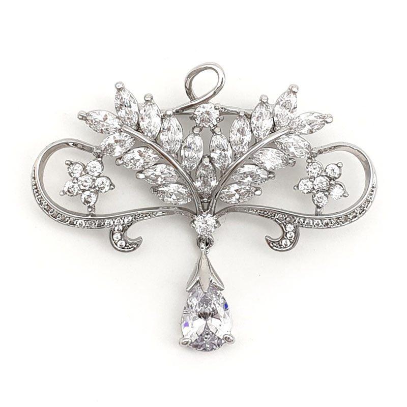 silver cubic zirconia drop brooch