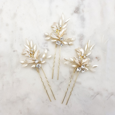 gold crystal and leaf hair pin