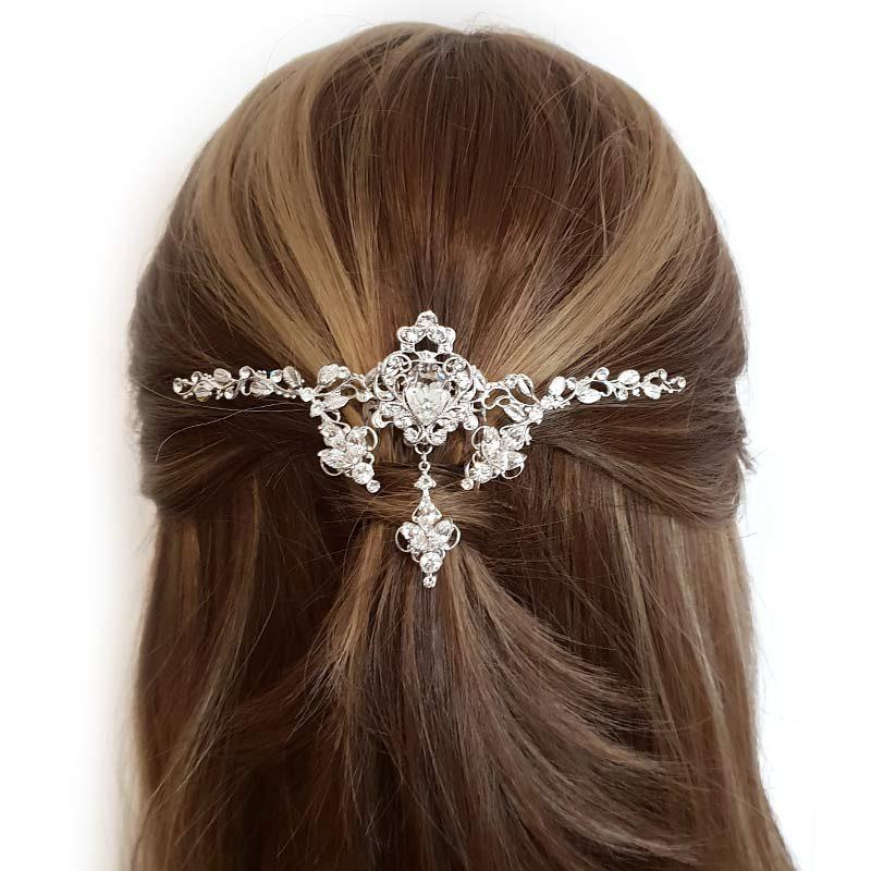 silver swarovski bridal hair comb