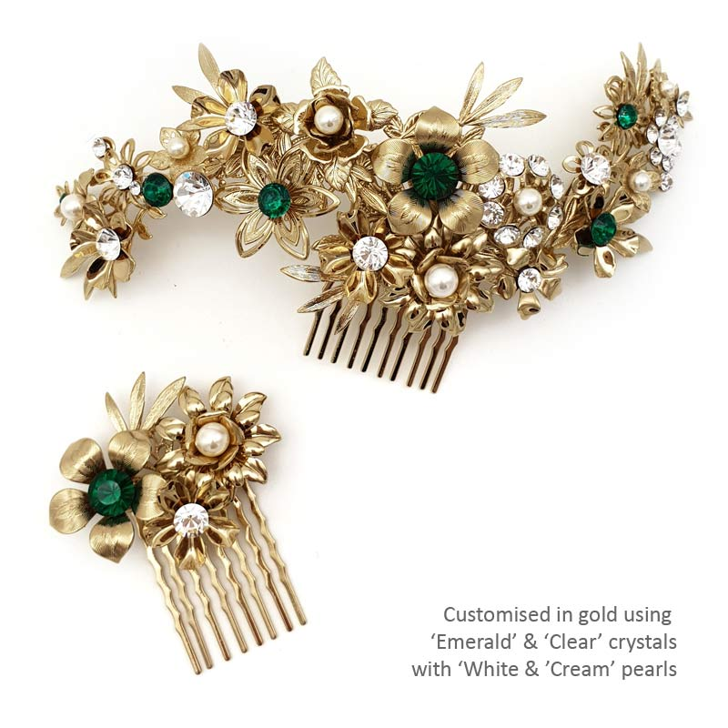 bespoke gold crystal and pearl hair combs