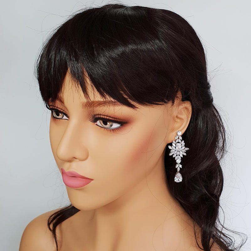 silver elegant drop earrings