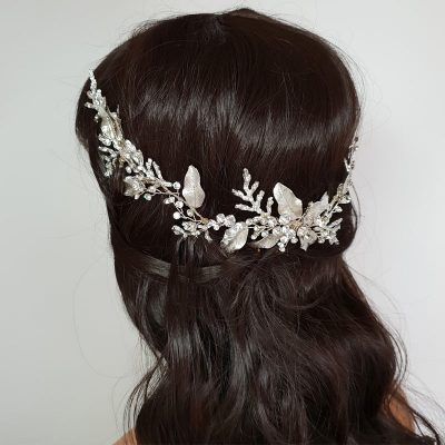 bold leaf silver bridal hair vine