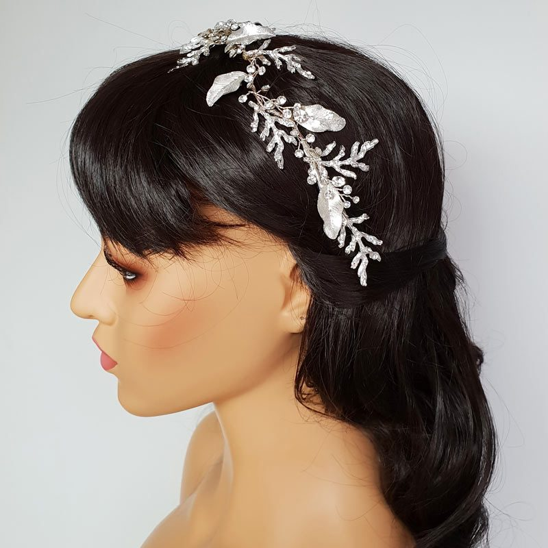 large silver leaf bridal hair vine