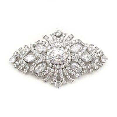 silver cz vintage bridal brooch