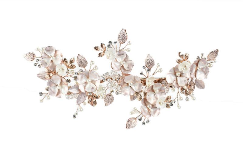 rose gold bridal floral hair piece