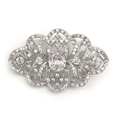 silver bridal brooch