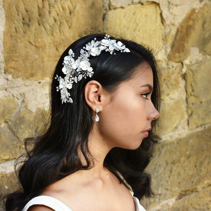 silver floral bridal hair comb