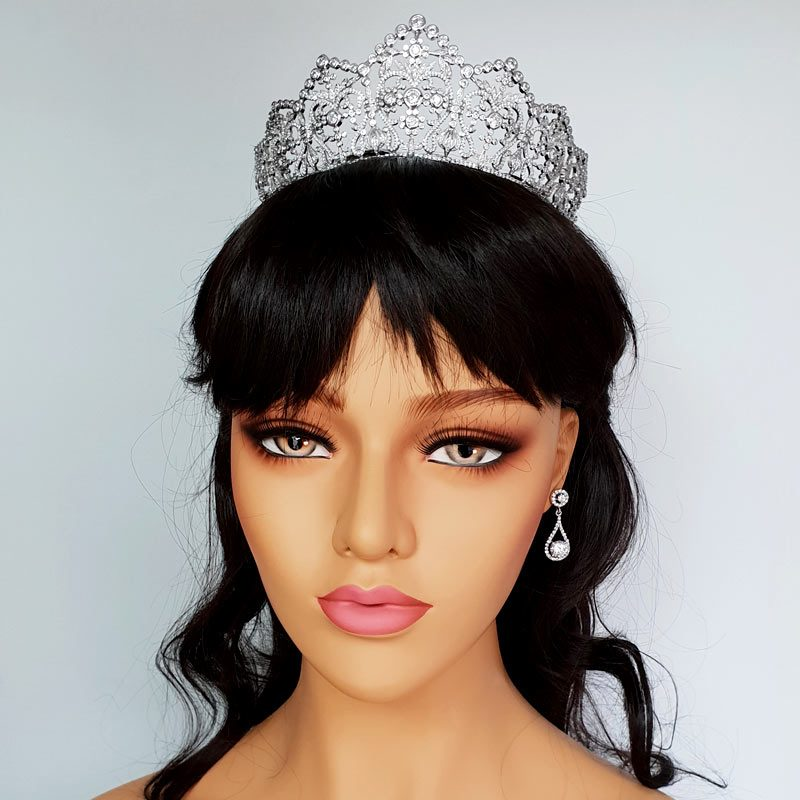 silver bridal hair crown