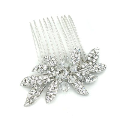crystal silver hair comb