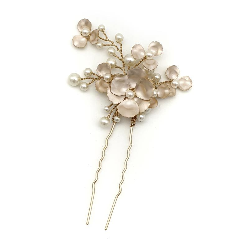Gold floral pearl hair pin