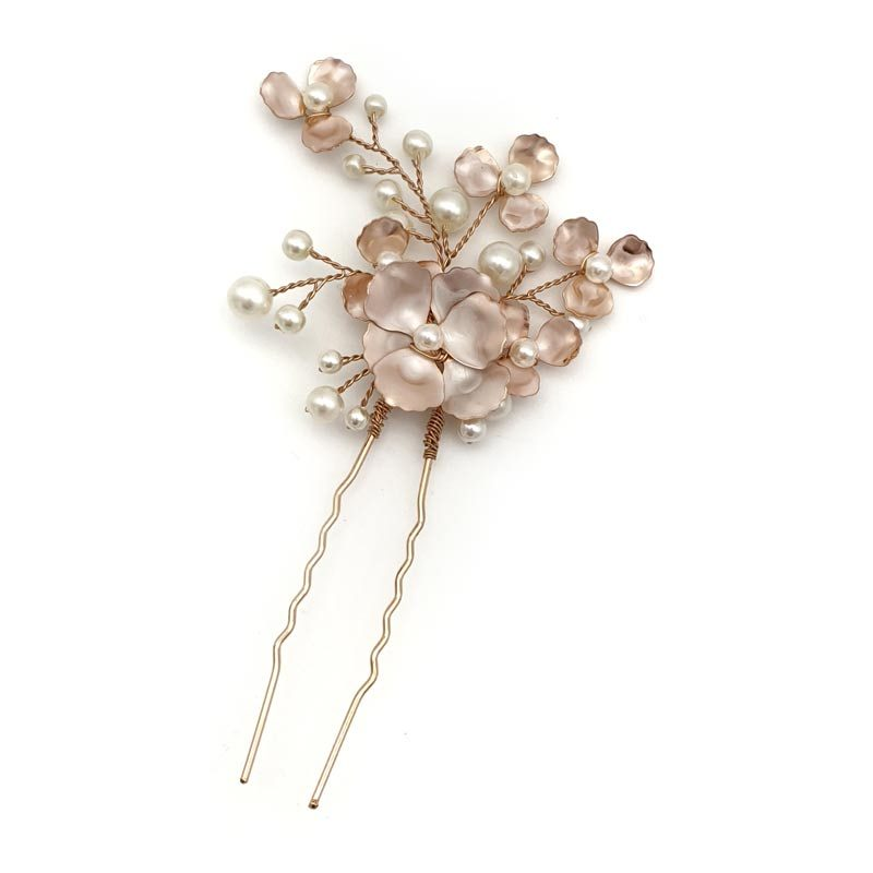 rose gold floral pearl hair pin