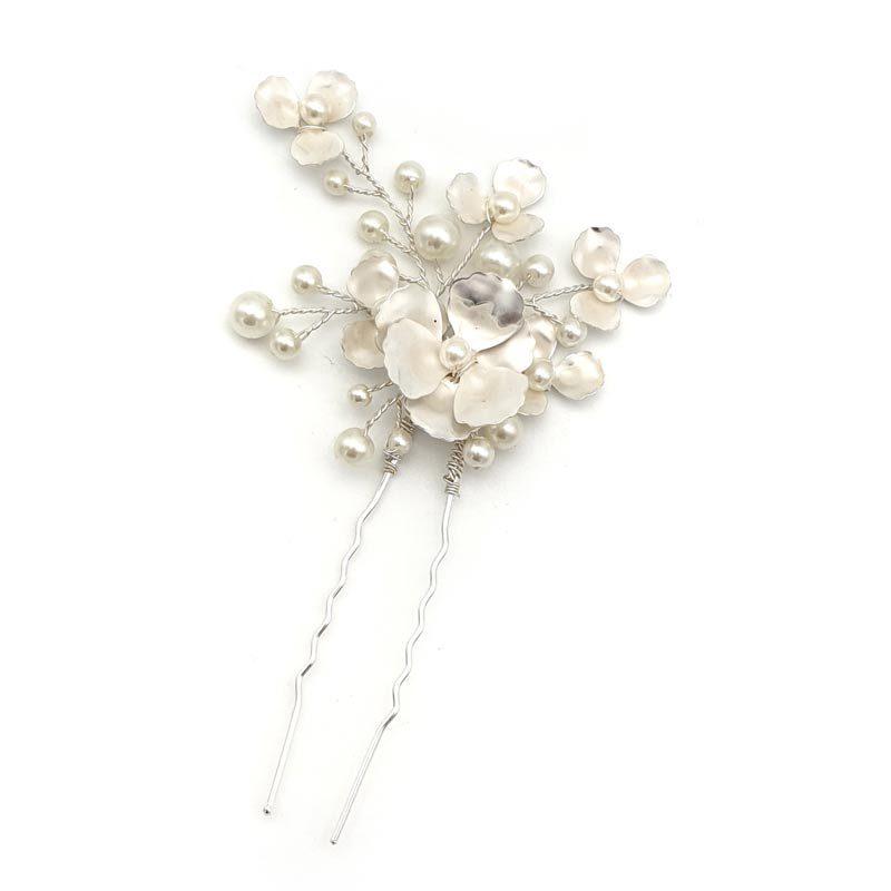 silver floral pearl bridal hair pin