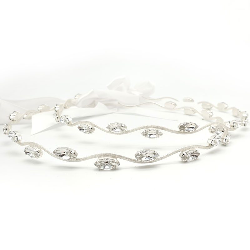 Silver Swarovski Crystal wedding stefana set