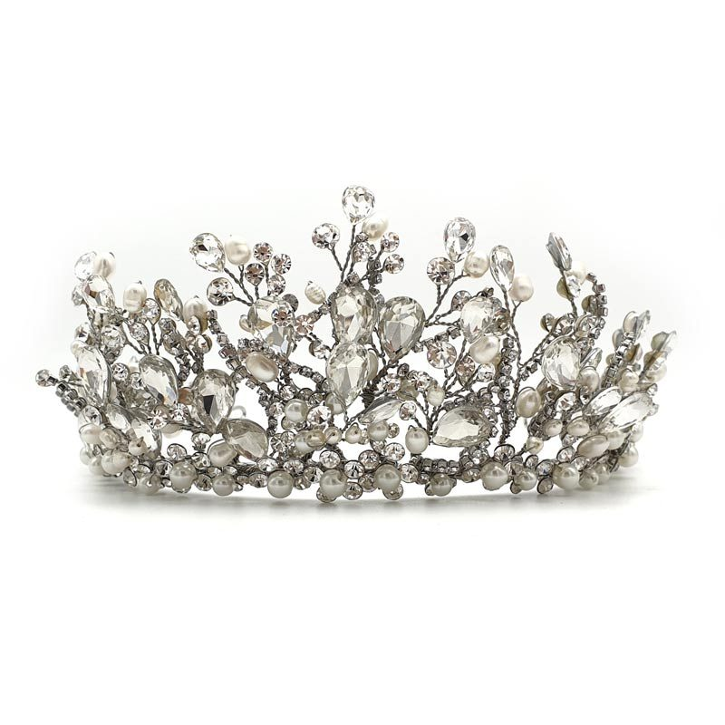 Large Silver pearl bridal crown