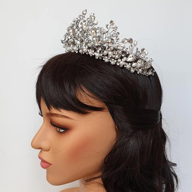 silver pearl wedding crown