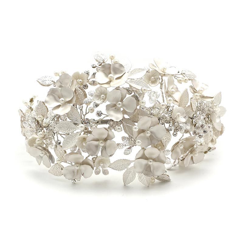 Large silver floral headband