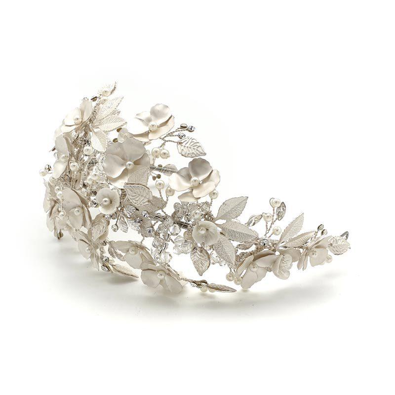 Wide silver flroal headband