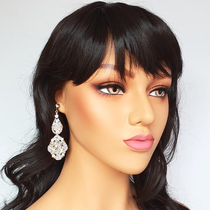 Gold Statement Swarovski crystal bridal earrings