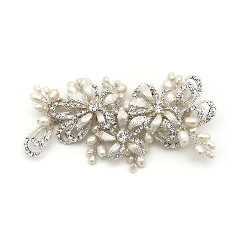 silver floral bridal hair piece