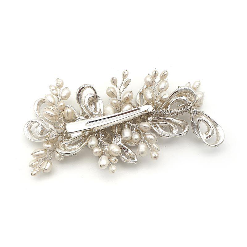 Silver floral pearl hair clip