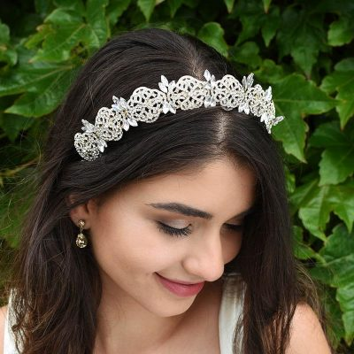 gold art deco bridal crown