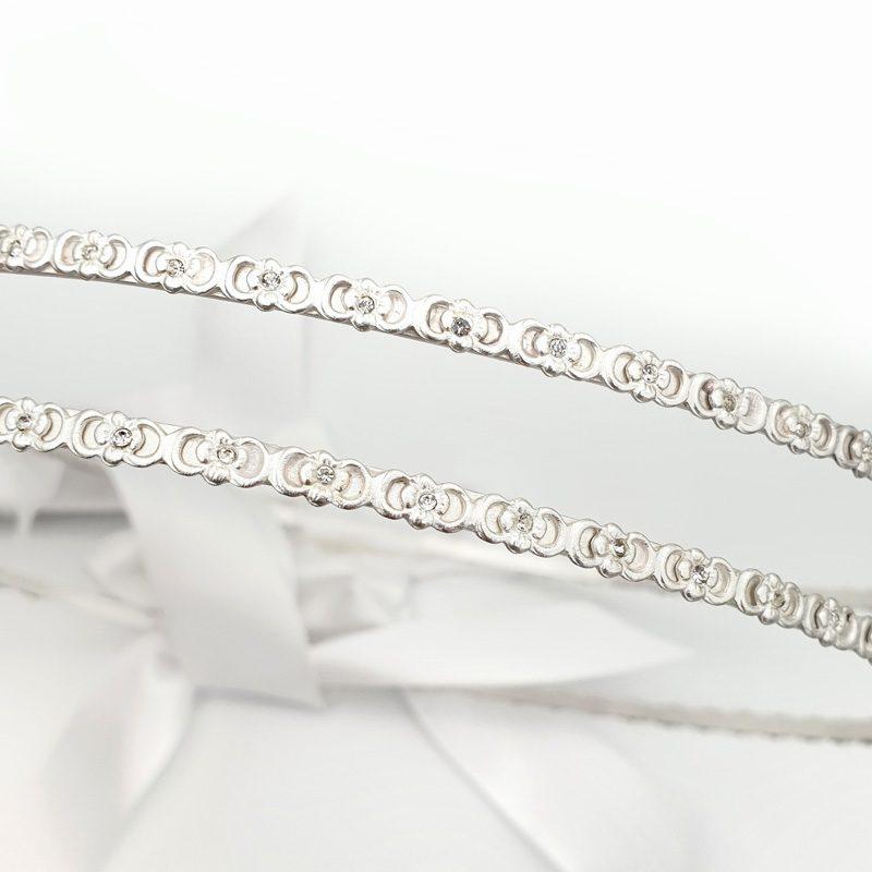 Silver Swarovski encrusted wedding stefana