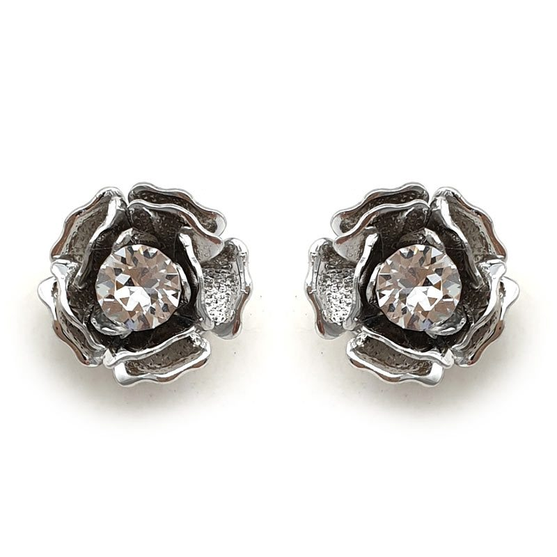 crystal floral srud earrings