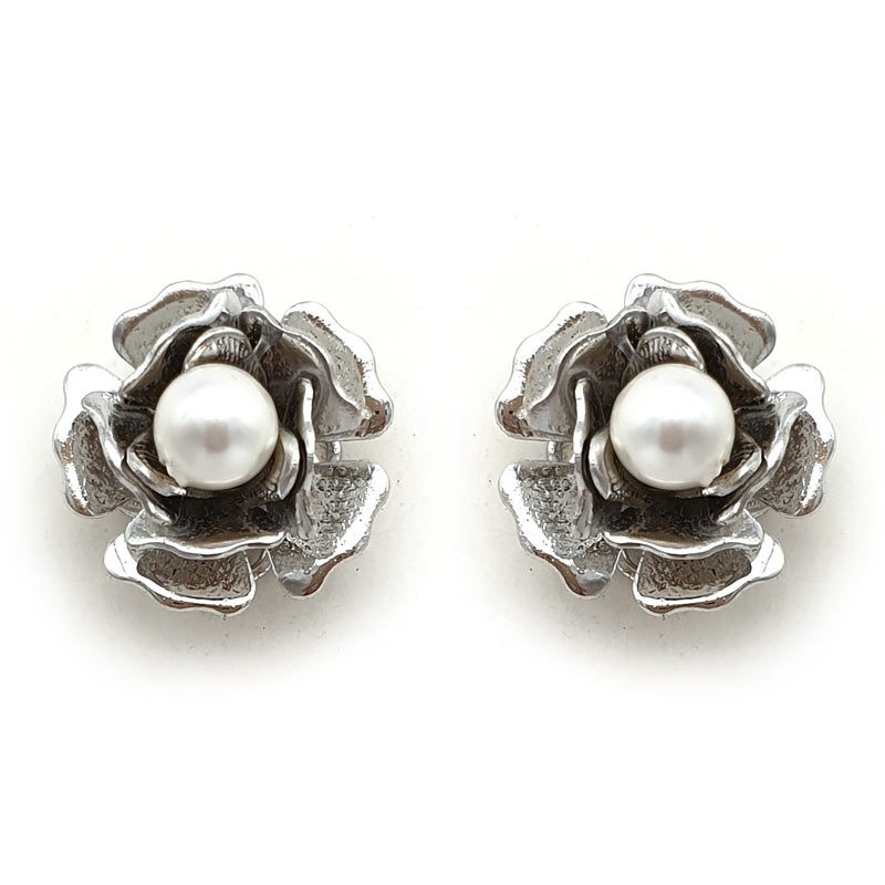'Judith' Floral Crystal or Pearl Studs (Silver/Gold/Rose Gold)