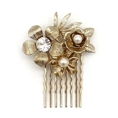Gold Floral Pearl and Crystal Hair Comb
