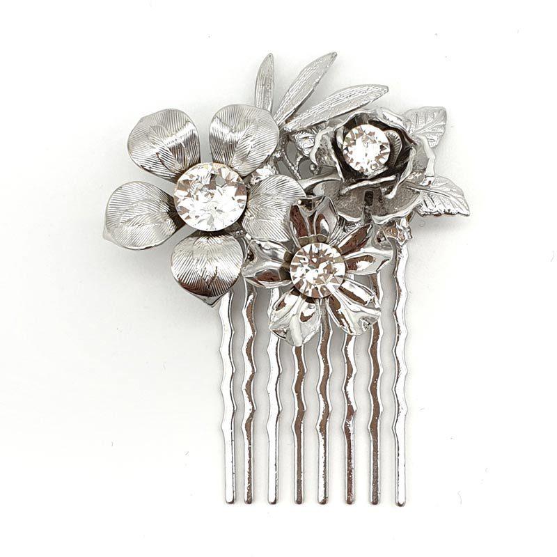 Small Silver Swarovski Crystal FloralComb