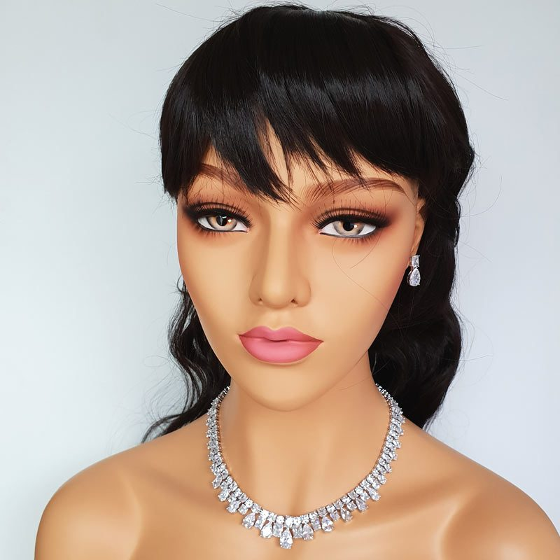 silver collar necklace set