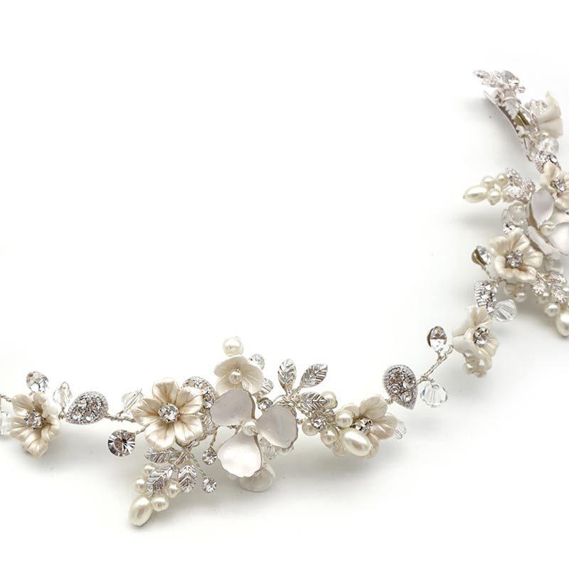 silver bridal floral hair vine