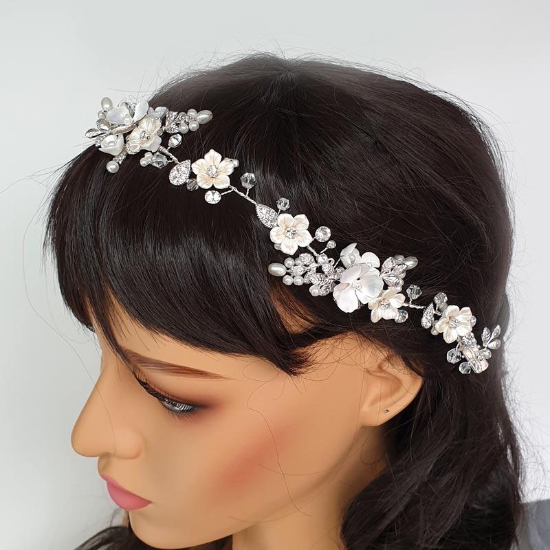 silver floral hair vine
