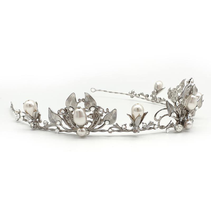 Vintage pearl and crystal bridal tiara