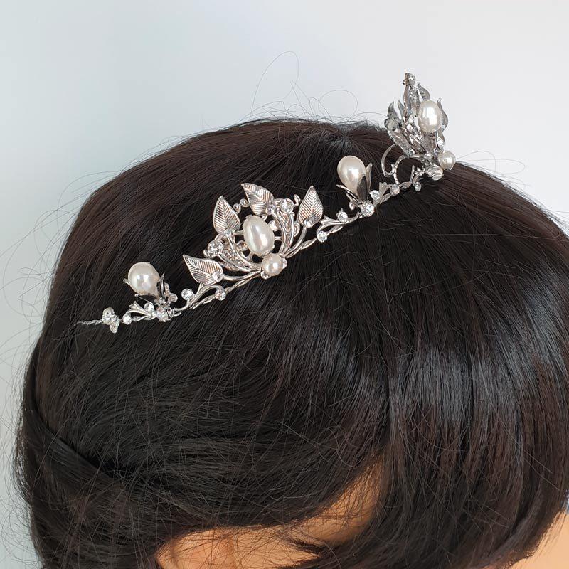 Swarovski pearl and crystal wedding tiara
