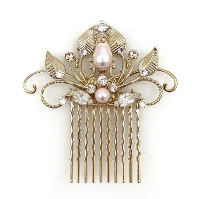Gold and pink pearl and crystal hair comb