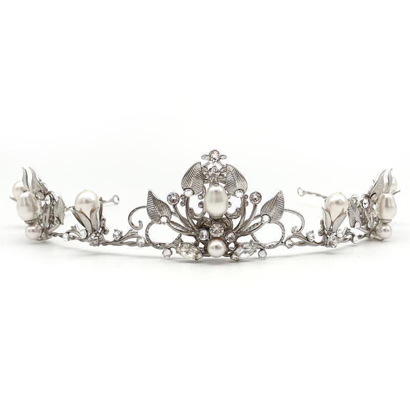 silver vintage pearl and crystal bridal crown