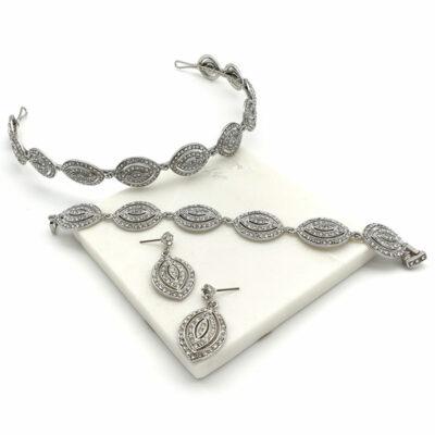 Silver art deco headband, bracelet, earrings set